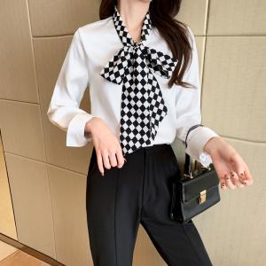 YF38708# 春季新装英伦风雪纺衫轻熟格子领结系带衬衫 服装批发女装直播货源