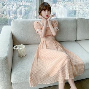 YF46032# 法式复古淑女气质连衣裙夏季新款优雅甜美格子长裙