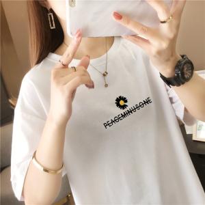 CX5448# 最便宜服装批发 夏装白色短袖t恤宽松大码中长款女刺绣字母雏菊上衣
