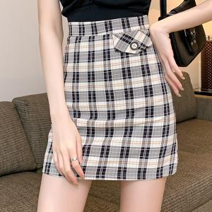 YF34880# 格子短裙春夏高腰新款半身裙小心机a字显瘦小个子裙子女 服装批发女装直播货源