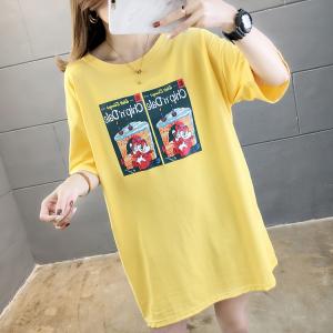 YF35100# 夏装新款韩版宽松大码女装中长款印花圆领胖MM短袖T恤 服装批发女装直播货源