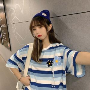 YF35322#  新款韩版ins可爱刺绣设计感花朵百搭条纹短袖T恤女上衣 服装批发女装直播货源
