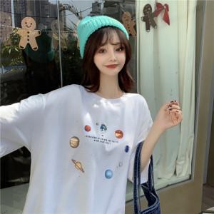 YF35324#  夏季百搭印花短袖T恤女 服装批发女装直播货源