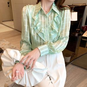 YF38712# 春夏新款荷叶边小众雪纺衫设计感轻薄款衬衫女 服装批发女装直播货源