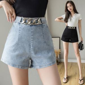 YF35577# 韩版牛仔短裤女弹力设计感腰链夏季新款高腰阔腿包臂热裤黑色 服装批发女装直播货源