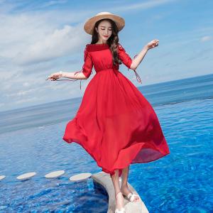 YF39343# 夏季新款一字领五分袖露肩沙滩裙松紧腰连衣裙大摆裙