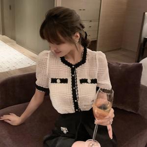 YF37732# 名媛小香风撞色针织短袖气质显瘦网红薄上衣女夏 服装批发女装直播货源