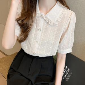YF42398# 雪纺衬衫女夏时尚小衫娃娃领白色上衣短袖洋气打底衫潮