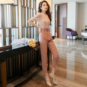YF42591# 赫本风女神范套装夏季新款女休闲时尚轻熟风洋气气质两件套