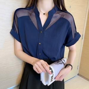 YF47148# 雪纺衬衫短袖新款夏款很仙的上衣V领宽松超仙洋气小衫