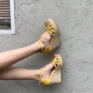X-25143# 春夏新款韩版编织麻绳厚底高跟防水台日常百搭绒面细带凉鞋 女鞋批发鞋子货源