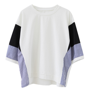 YF37199# 夏季新款胖MM减龄洋气蝙蝠衫条纹拼接显瘦套头短袖T恤女 服装批发女装直播货源