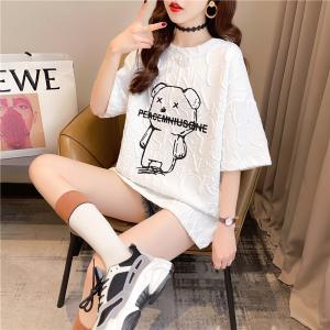 YF37701# 夏装韩版宽松圆领卡通印花上衣中长款大码女装短袖T恤女 服装批发女装直播货源