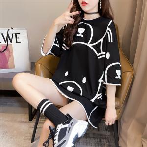 YF37705# 夏装韩版宽松圆领卡通印花上衣中长款大码女装短袖T恤女 服装批发女装直播货源