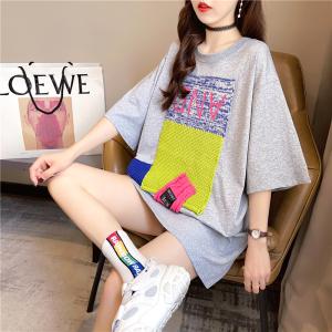 YF37706# 夏装韩版宽松圆领针织贴布上衣中长款大码女装短袖T恤女 服装批发女装直播货源