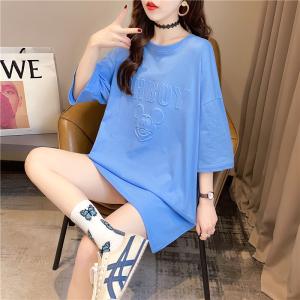 YF37707# 夏装韩版宽松圆领卡通钢印上衣中长款大码女装短袖T恤女 服装批发女装直播货源