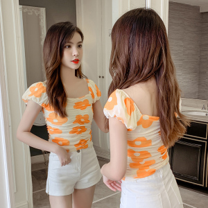 YF37728# 新款韩版短款花朵网纱上衣女弹力显瘦露肩小衫女 服装批发女装直播货源