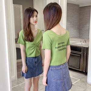 YF37730# 牛油果绿短袖t恤女新款性感修身显瘦V领印花薄款紧身上衣 服装批发女装直播货源