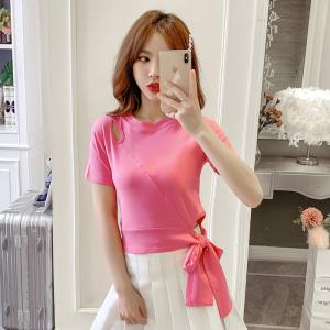 YF37729# 新款韩版修身绑带心机T恤女气质显瘦夏季短袖上衣 服装批发女装直播货源