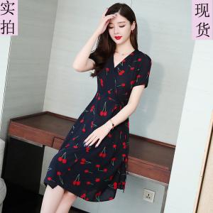 YF39050# 实拍夏季新款雪纺连衣裙樱桃中长款裙子印花一片式裙子系带