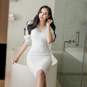 YF37992# 新款韩版气质V领显瘦连衣裙包臀裙 服装批发女装直播货源