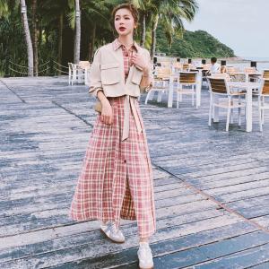 YF38508# 法式复古假两件格子连衣裙女春新款气质显瘦长袖赫本衬衫长裙 服装批发女装直播货源