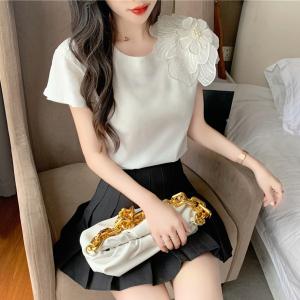YF52370# 实拍 2021夏季立体花朵装饰钉珠纯棉短袖t恤女韩版宽松上衣体恤潮