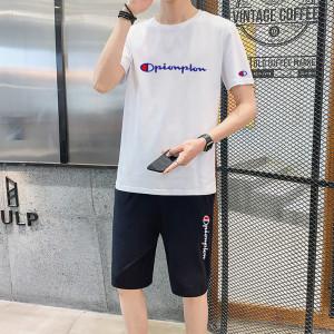 YF41368# 圆领短袖t恤男士夏季男装两件套帅气潮流短裤休闲运动套装 服装批发女装直播货源