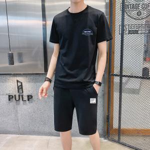 YF41374# 圆领短袖t恤男士夏季男装两件套帅气潮流短裤休闲运动套装 服装批发女装直播货源