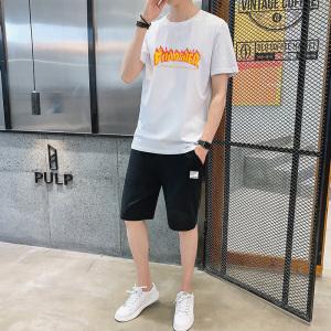 YF41375# 圆领短袖t恤男士夏季男装两件套帅气潮流短裤休闲运动套装 服装批发女装直播货源