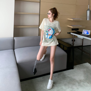 YF41771# 卡通中长款短袖t恤女夏季新款韩版宽松纯棉大版上衣潮 服装批发女装直播货源
