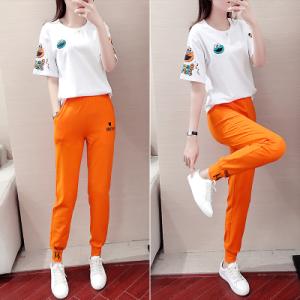 YF40963# 休闲运动套装女夏季新款大码韩版洋气时尚减龄宽松潮流两件套