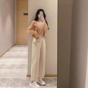 YF49238# 单套装女秋季新款韩版可盐可甜网红穿搭小个子针织衫阔腿裤三件套