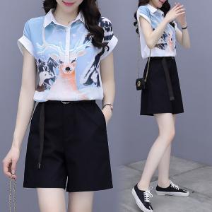 YF40958# 短裤套装女夏洋气套装时尚显示气质女装印花雪纺衫短裤两件套 服装批发女装直播货源