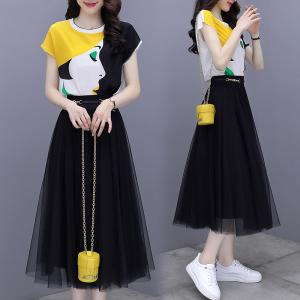 YF40960# 裙子套装女夏新款短袖真丝印花衬衫网纱半身裙时尚两件套装裙 服装批发女装直播货源