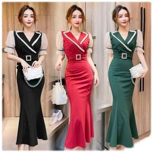YF44585# 新款女装时尚西装领拼接网纱收腰包臀连衣裙打底裙中长款
