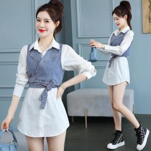 YF40532# 马甲套装女春夏季港风时髦白衬衫两件套背心洋气小个子 服装批发女装直播货源