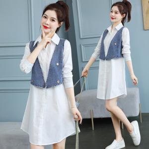 YF40533# 衬衫马甲连衣裙早春装流行新款女装洋气两件套装裙夏装 服装批发女装直播货源