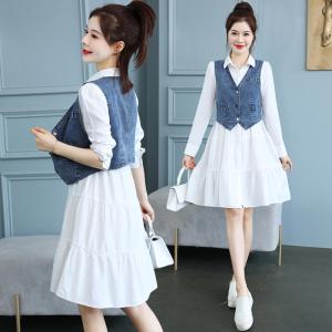 YF40534# 牛仔马甲女春秋新款韩版显瘦洋气减龄衬衫连衣裙两件套 服装批发女装直播货源