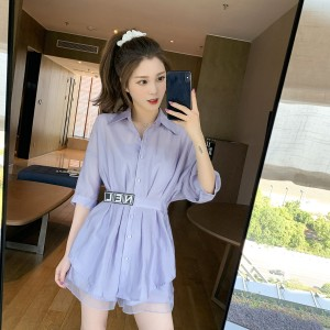 YF41800#  春夏装新款收腰显瘦衬衫超仙洋气小衫两件套上衣服