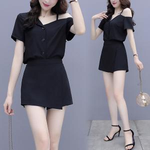 YF47428# 欧洲站夏季新款女洋气露肩显高显瘦黑色短裤时尚两件套 服装批发女装直播货源