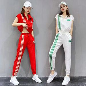 YF49701# 欧洲站夏季女装新款短袖开衫运动服套装韩版休闲宽松两件套欧货潮 服装批发女装直播货源