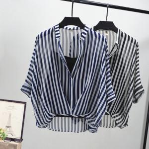 YF57731# 条纹显瘦衬衣雪纺蝙蝠袖衬衫配背心两件套