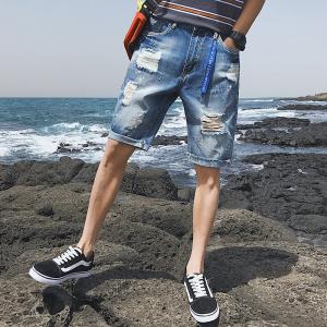YF41322# 破洞牛仔短裤男士宽松直筒五分裤夏季薄款韩版潮流百搭中裤男 服装批发女装直播货源