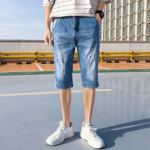YF41325# 裤子男韩版潮流七分牛仔短裤宽松直筒男士7分裤休闲弹力薄款 服装批发女装直播货源