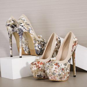 X-25265# 新款16CM水台珍珠水钻重工高跟女单鞋34-40码 鞋子批发女鞋货源