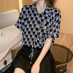 YF43037# 新款印花短袖雪纺衬衫设计感小众气质垂感洋气上衣 服装批发女装直播货源