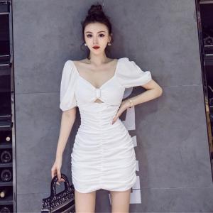 YF49702# 春夏新款短裙法国小众短袖修身显瘦包臀褶皱连衣裙 服装批发女装直播货源