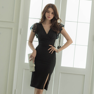 YF41254# 新款宴会拼接修身包臀开叉气质V领蕾丝连衣裙 服装批发女装货源