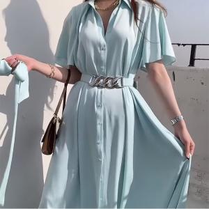 YF66144# chic推荐舒适亲肤质感衬衫式连衣裙配腰带五色 服装批发女装直播货源